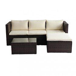 5 PC Wicker Sofa Patio Furniture Set Outdoor Garden Rattan Chairs Bestmassage