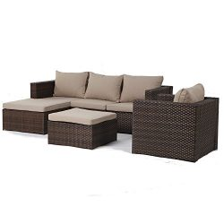 LCH Deluxe Rattan Patio Furniture Sets, 4 pcs Outdoor Rattan Sofa Sets Sectional