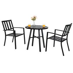 PHI VILLA Outdoor Patio Metal 3 Piece Bistro Furniture Set with 2 x Chair,1 x Table
