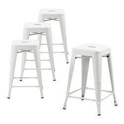 Buschman Counter High Tolix-Style Metal Bar Stools, Indoor/Outdoor, Stackable, 24″ H, Matt ...