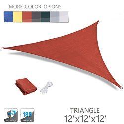 LOVE STORY 12′ x 12′ x 12′ Triangle Terra UV Block Sun Shade Sail Perfect for  ...