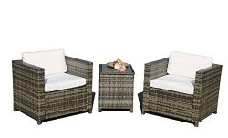 PATIOROMA 3 Piece Outdoor Conversation Set, PE Wicker Rattan Furniture with Cream White Cushions ...