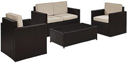 Crosley Furniture Palm Harbor 4-Piece Outdoor Wicker Conversation Set with Sand Cushions – ...