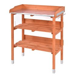 New Outdoor Garden Wooden Potting Bench Work Station Table Tool Storage Shelf W/Hook