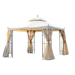 Outsunny 10' x 10' Steel Outdoor Garden Gazebo with Mesh Curtains – Beige