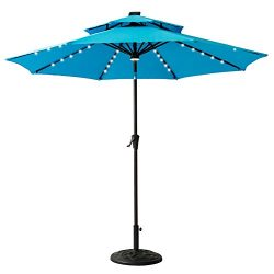 FLAME&SHADE 9′ LED DoubleTop Outdoor Patio Market Umbrella with Lights, Crank Lift, Pu ...