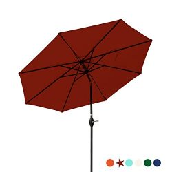 Masvis Patio Umbrella 9 Ft Aluminum Outdoor Table Market Umbrellas With Push Button Tilt and Cra ...