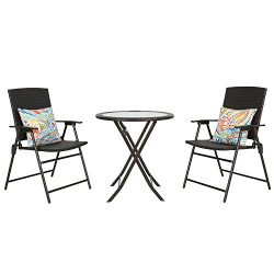 Iwicker Patio Rattan Steel Folding Bistro Set, All Weather Resistant Wicker, 3 PCS Set of Foldab ...