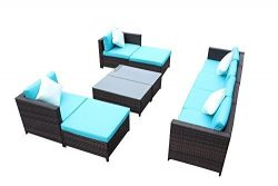 Outime Outdoor Rattan Wicker Sofa Set Garden Patio Furniture Cushioned Sectional Conversation Se ...