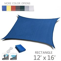 LOVE STORY 12′ x 16′ Rectangle Blue UV Block Sun Shade Sail Perfect for Outdoor Pati ...