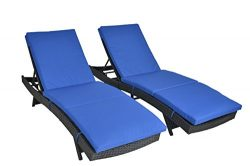 JETIME 2Pcs Patio Black Woven Rattan Lounge Chair Outdoor Portable Chaise Couch Furniture Ajusta ...