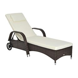 Outsunny Outdoor Rattan Wicker Poolside Chaise Lounge Chair with Adjustable Backrest – Mix ...