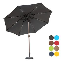 Sundale Outdoor 10 ft Solar Powered 24 LED Lighted Patio Umbrella Table Market Umbrella with Cra ...