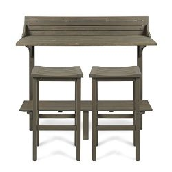 Cassie Outdoor 3 Piece Grey Finish Acacia Wood Balcony Bar Set