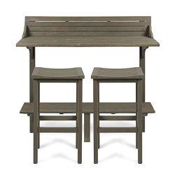 Cassie Outdoor 3 Piece Grey Finish Acacia Wood Balcony Bar Set