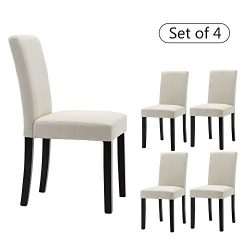 LSSBOUGHT Set of 4 Classic Fabric Dining Chairs Dining Room Chair with Solid Wood Legs, Beige