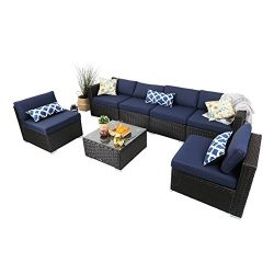 PHI VILLA 7-Piece Outdoor Rattan Sectional Sofa- Patio Wicker Furniture Set, Blue