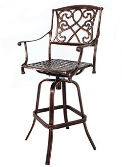 HOMEFUN Outdoor Swivel Bar Stools Cast Aluminum Bistro Pub Patio Bar Height Chairs (Antique Bronze)
