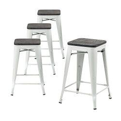 Buschman Wooden Seat Counter High Tolix-Style Metal Bar Stools, Indoor/Outdoor, Stackable, 24&#8 ...