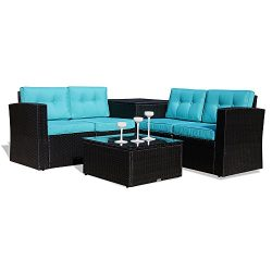 Patio Furniture Sectional Sofa 6 Piece All-Weather Black Wicker Rattan with Cushions & Glass ...