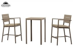 Suncrown Outdoor Steel & Polywood Bar Height Bistro Set (3-Piece Set) All Weather Steel Powd ...