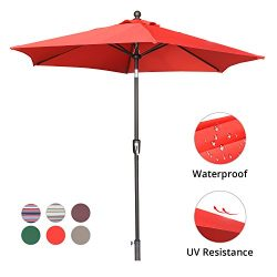 LCH 9 Ft Patio Umbrella Outdoor Backyard Market Table Umbrella Stripe Sturdy Pole Push Button Ea ...
