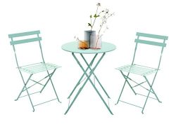 Grand patio 3-Piece Folding Outdoor Bistro Sets, Portable Steel Patio Furniture Sets, Weather-Re ...