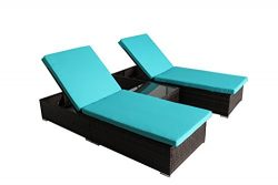 JETIME Outdoor 3Pcs Brown Woven Rattan Couch Patio Adjustable Synthetic Backyard Poolside Rattan ...