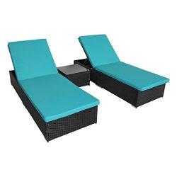 URSTAR Outdoor Patio Lounge Adjustable Chair Textilene for Beach Yard, 5 Reclining Positions (3  ...