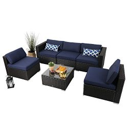 PHI VILLA 6-Piece Outdoor Rattan Sectional Sofa- Patio Wicker Furniture Set ,Blue
