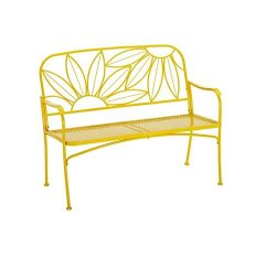 Hello Sunny Outdoor Patio Bench, with Armrests,rounded Corners and a Sturdy Frame, Enhances the  ...