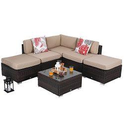 PHI VILLA 6-Piece Outdoor Rattan Sectional Sofa- Patio Wicker Furniture Set, Beige