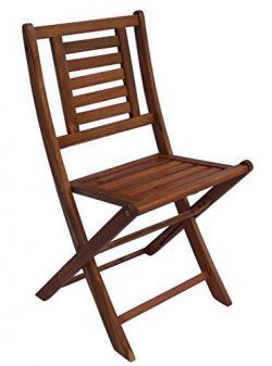 Zen Garden Eucalyptus Foldable Patio Bistro Chair, Set of 2 Chairs, 20.5″ x 19.5″ x  ...