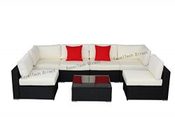 Do4U 7 Pieces Outdoor Patio PE Rattan Wicker Sofa Sectional Furniture Set (BK-9004)