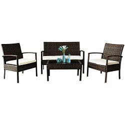 Tangkula 4 PCS Wicker Conversation Set Outdoor Patio Garden Lawn Rattan Furniture Set with Cushions
