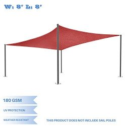 E&K Sunrise 8′ x 8′ Red Sun Shade Sail Square Canopy – Permeable UV Block  ...