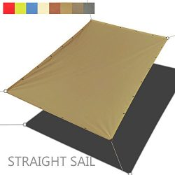 Alion Home Custom Sizes Straight Edge PU Waterproof Woven Sun Shade Sail for Car Tent, Carport,  ...