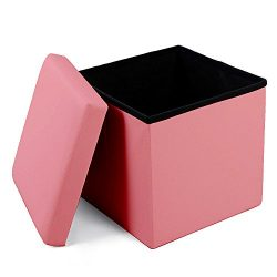 Geartist GOO1 Leather Folding Organizer Storage Ottoman Bench Footrest Stool Coffee Table Cube,  ...