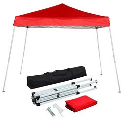 Yaheetech 10×10 Pop-Up Canopy Tent with Carrying Bag, Height Adjustable, Red