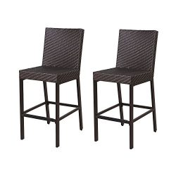 LCH Wicker Bar Chairs Outdoor Patio Furniture Sets, Wicker Ratten Sectional Sofa & Seat Cushions