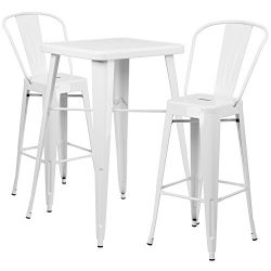"Flash Furniture 23.75"" Square White Metal Indoor-Outdoor Bar Table Set with 2 Stools with  ..."
