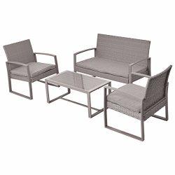 Giantex 4pc Patio Furniture Set Cushioned Outdoor Wicker Rattan Garden Lawn Sofa Seat (Light Gray)
