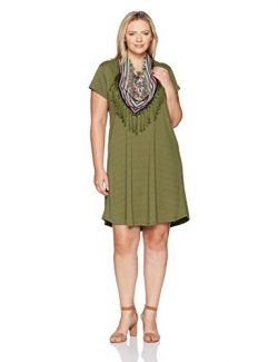OneWorld Women's Plus Size Short Sleeve Solid Knee Length Dress with Attached Scarf, Gazeb ...