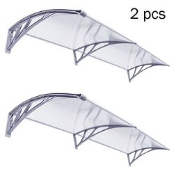 F2C 2pcs 1mx2m DIY Outdoor Polycarbonate Front Door Window Awning Patio glassy Cover Canopy (fou ...