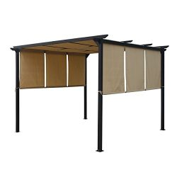 Dione Outdoor Steel Framed 10′ by 10′ Gazebo, Beige