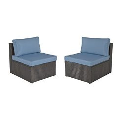 GOJOOASIS Outdoor Patio PE Wicker Rattan Sofa Sectional Furniture Conversation Set with Cushion, ...