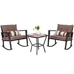 Tangkula 3 PCS Patio Rattan Wicker Furniture Set Outdoor Garden Glass Top Coffee Table & Roc ...