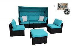 Outdoor Rattan Wicker Sofa Set Garden Patio Furniture Cushioned Sectional Conversation Sets with ...