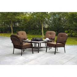 Mainstay* 5-Piece Steel Frames Patio Conversation Set with Fire Pit, Seats 4 (100% Fabric/Polyes ...