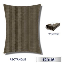 Windscreen4less 12′ x 16′ Rectangle Sun Shade Sail – Brown with Black Strips D ...
